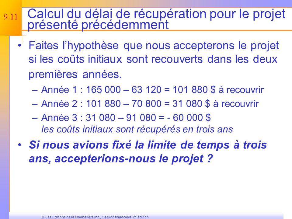 Calcul du délai de récupération pour le projet présenté précédemment