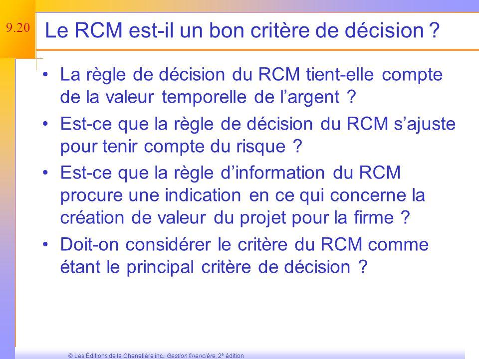 Le RCM est-il un bon critère de décision