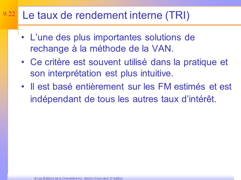 Le taux de rendement interne (TRI)