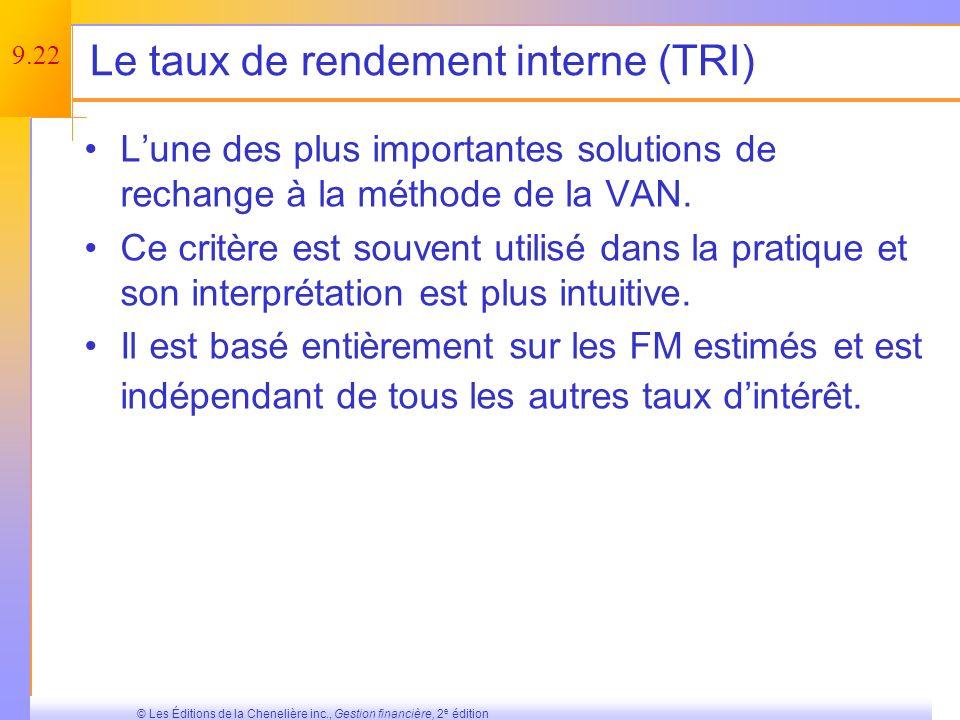 Le taux de rendement interne (TRI)