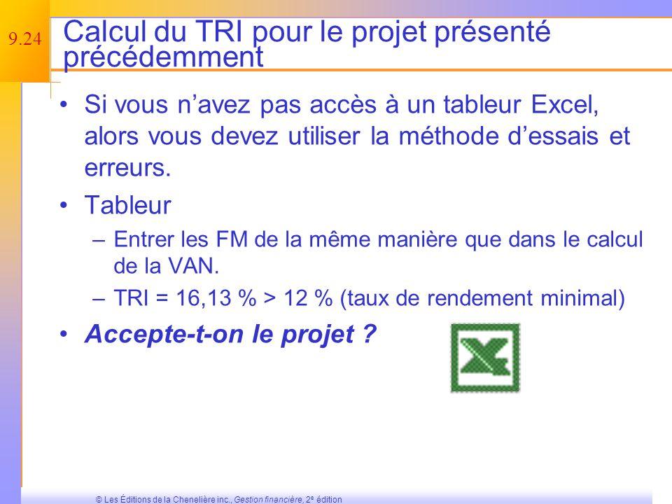 Calcul du TRI pour le projet présenté précédemment