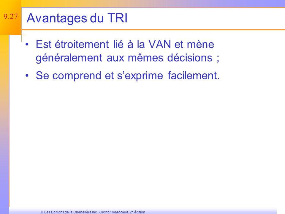 Avantages du TRI Est étroitement lié à la VAN et mène généralement aux mêmes décisions ; Se comprend et s'exprime facilement.