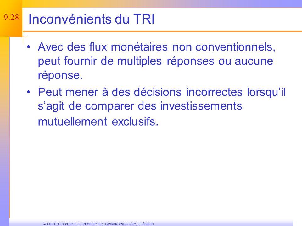 Inconvénients du TRI Avec des flux monétaires non conventionnels, peut fournir de multiples réponses ou aucune réponse.