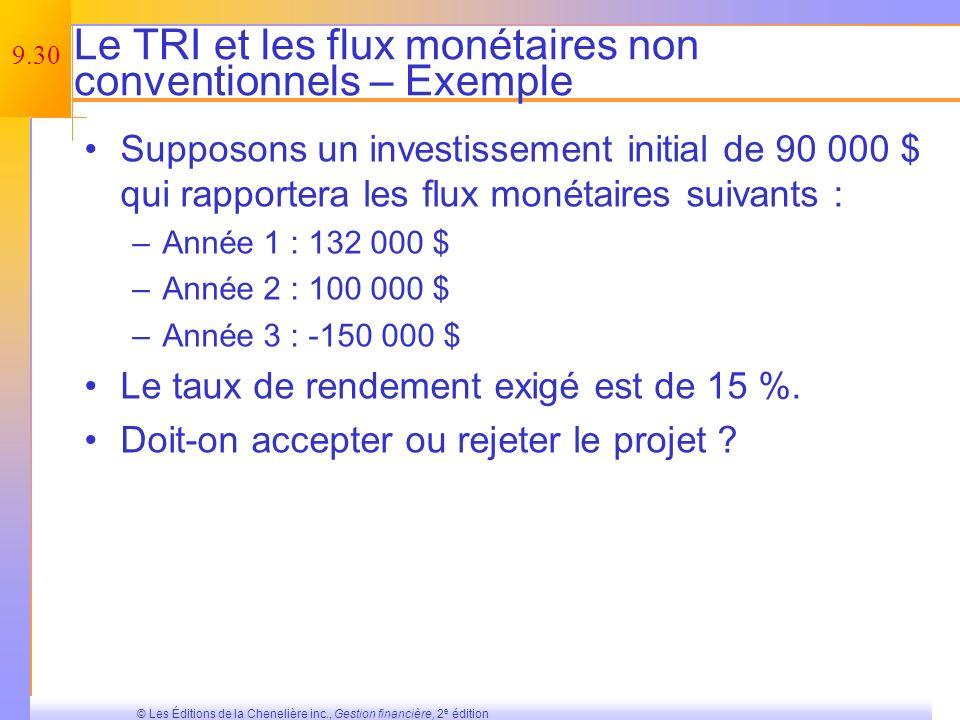 Le TRI et les flux monétaires non conventionnels – Exemple