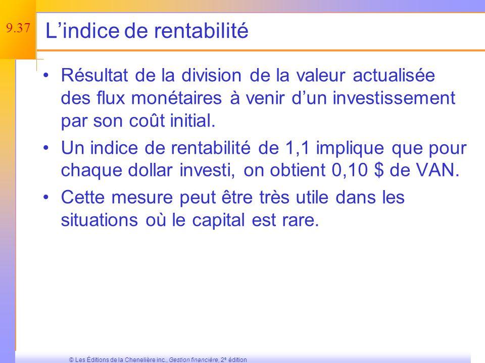 L'indice de rentabilité