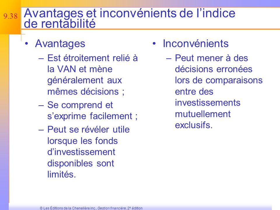 Avantages et inconvénients de l'indice de rentabilité