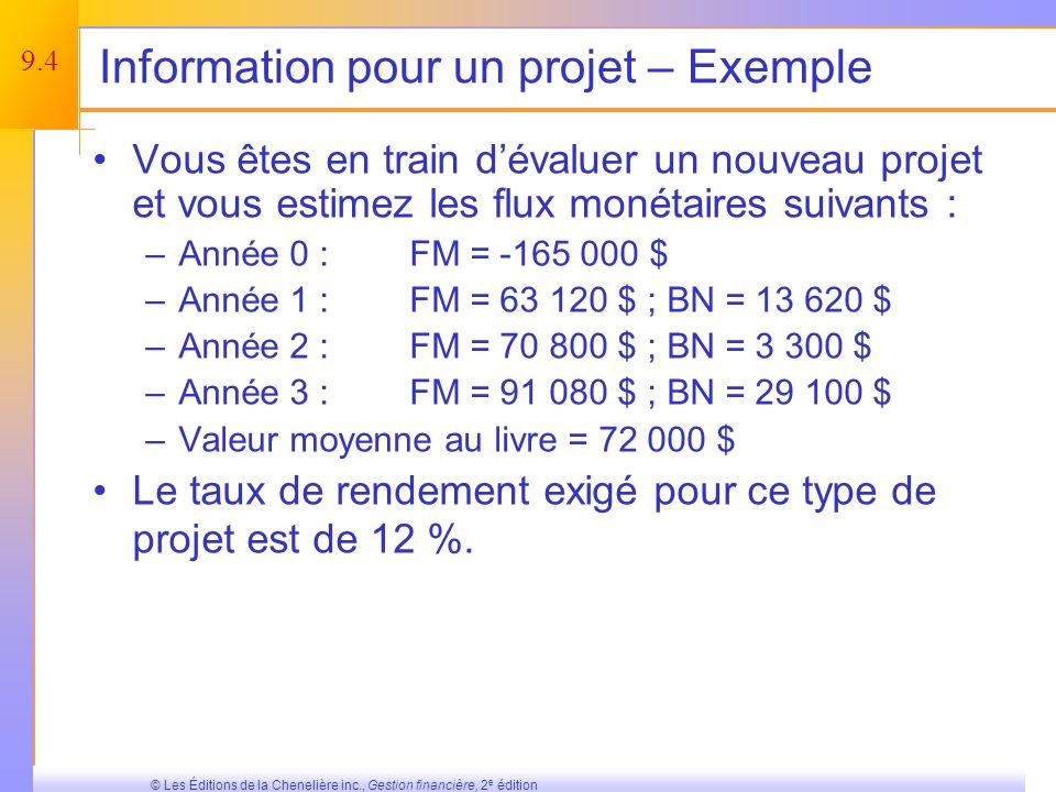 Information pour un projet – Exemple