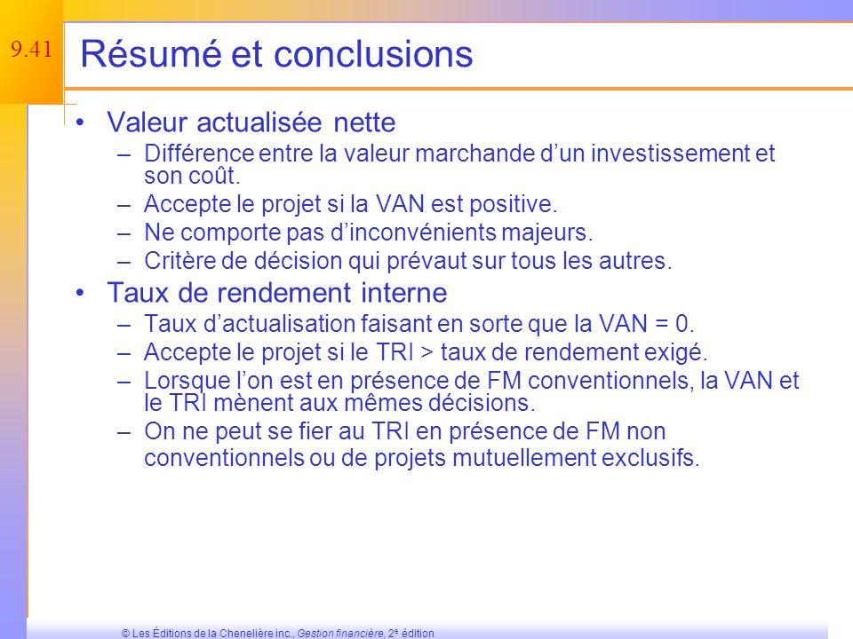 Résumé et conclusions Valeur actualisée nette