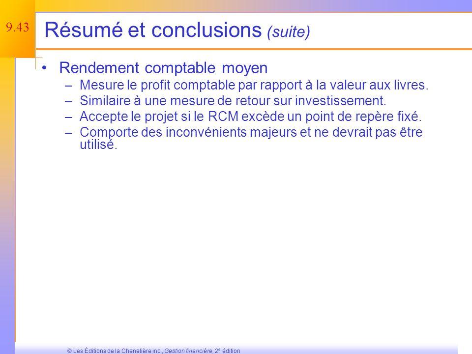 Résumé et conclusions (suite)