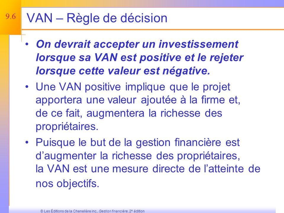 VAN – Règle de décision On devrait accepter un investissement lorsque sa VAN est positive et le rejeter lorsque cette valeur est négative.