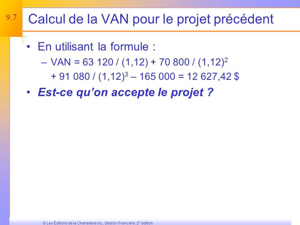 Calcul de la VAN pour le projet précédent