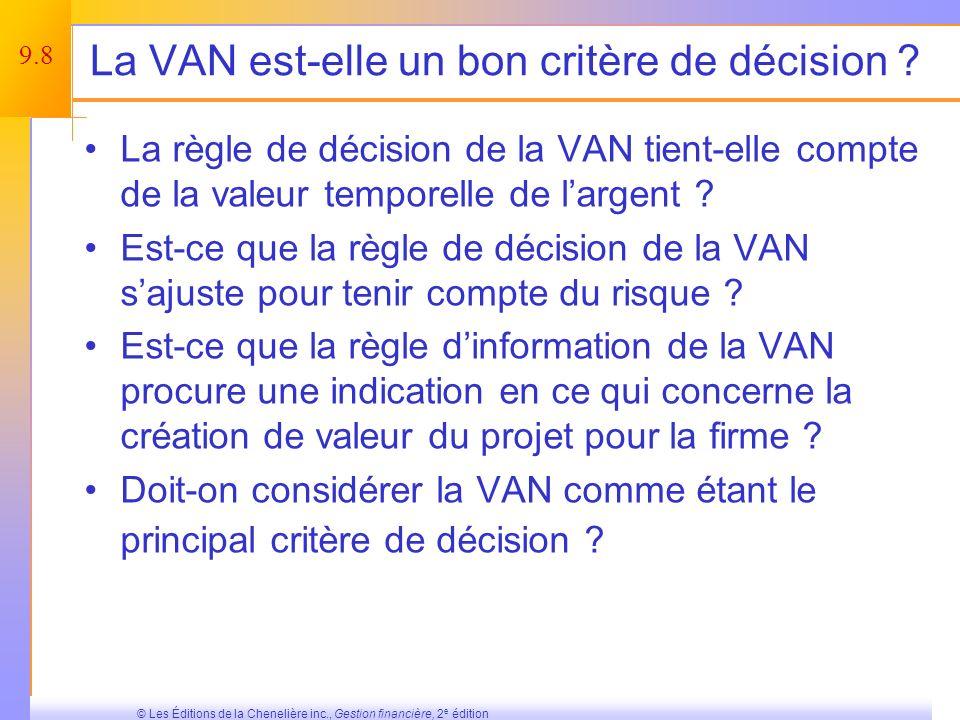 La VAN est-elle un bon critère de décision