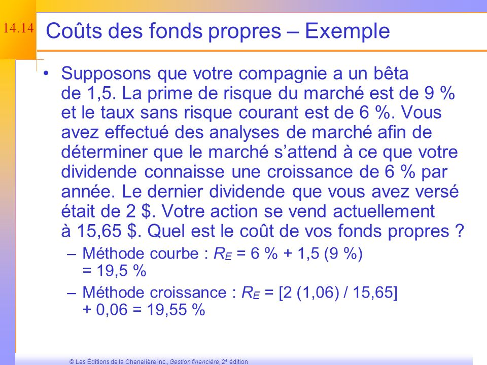 Coûts des fonds propres – Exemple