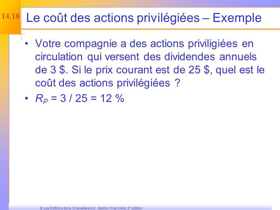 Le coût des actions privilégiées – Exemple