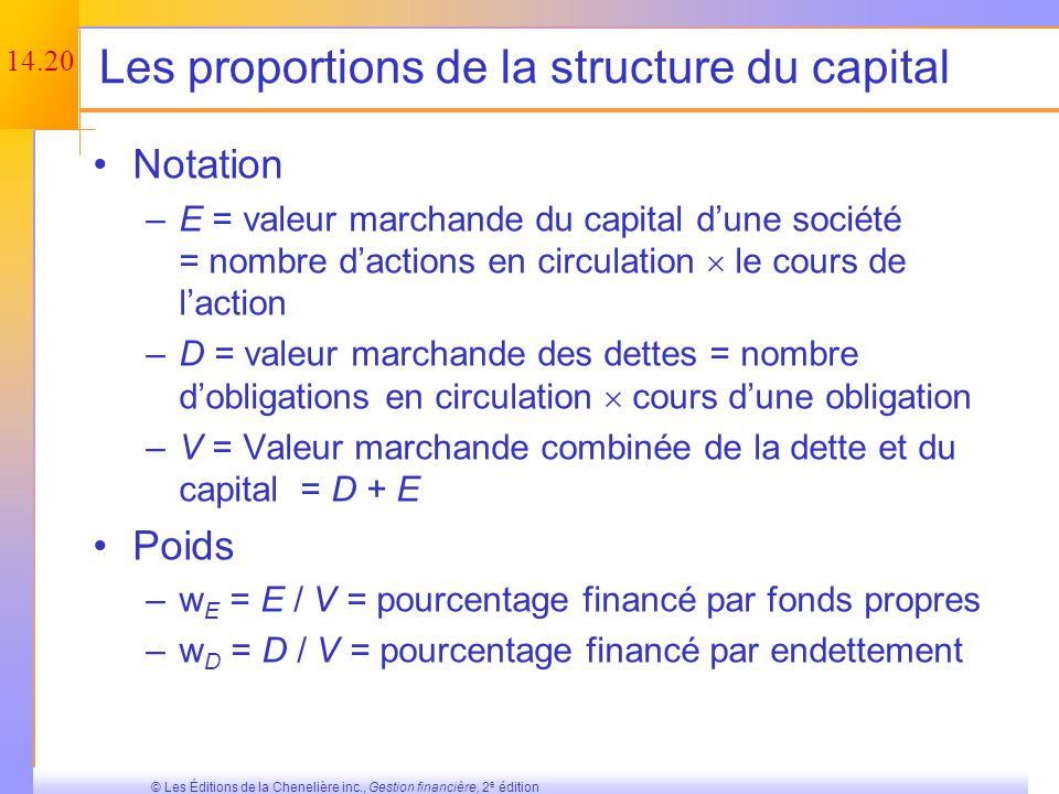 Les proportions de la structure du capital
