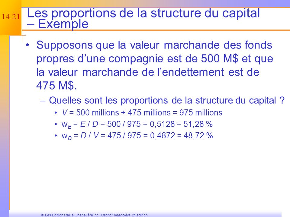 Les proportions de la structure du capital – Exemple