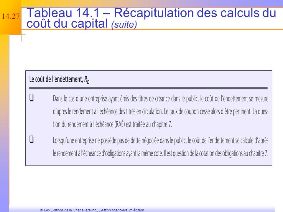 Tableau 14.1 – Récapitulation des calculs du coût du capital (suite)