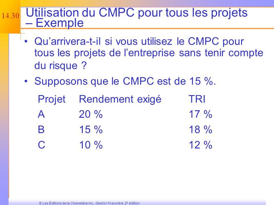 Utilisation du CMPC pour tous les projets – Exemple