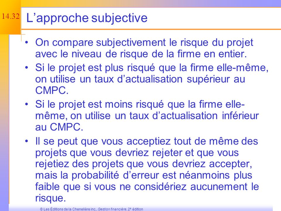 L'approche subjective