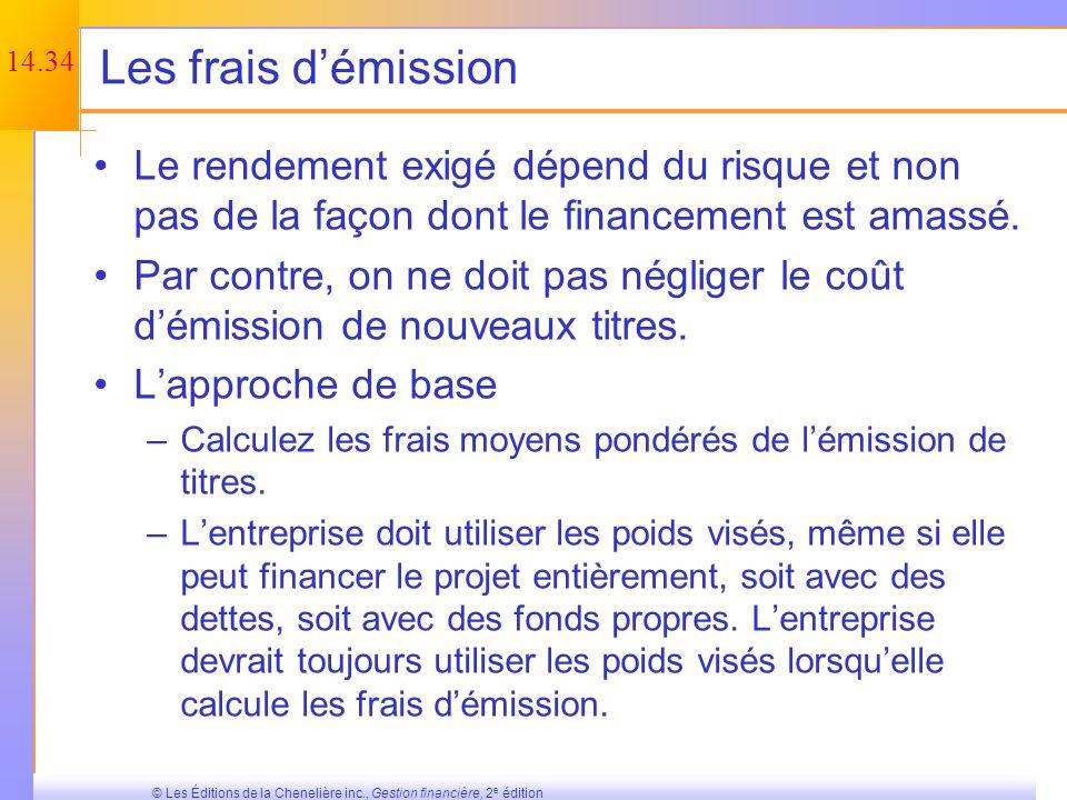 Les frais d'émission Le rendement exigé dépend du risque et non pas de la façon dont le financement est amassé.