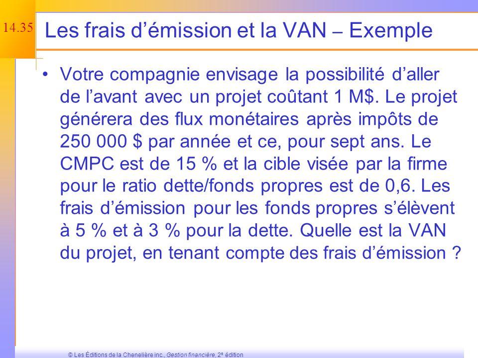 Les frais d'émission et la VAN – Exemple