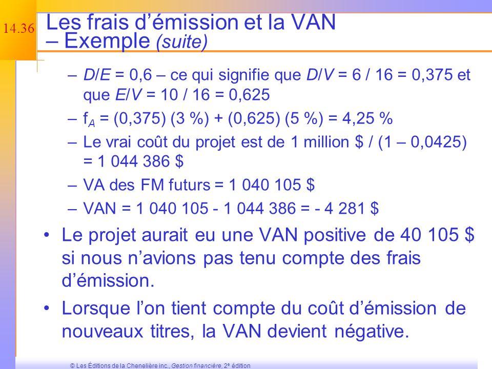 Les frais d'émission et la VAN – Exemple (suite)