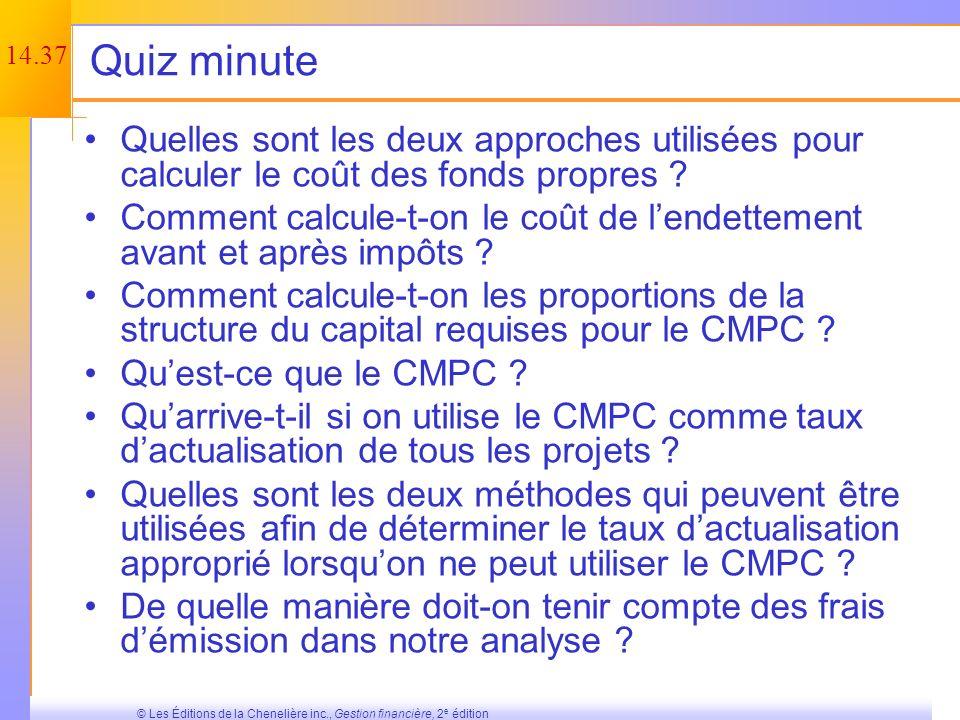 Quiz minute Quelles sont les deux approches utilisées pour calculer le coût des fonds propres