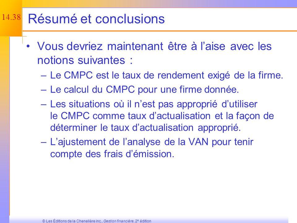 Résumé et conclusions Vous devriez maintenant être à l'aise avec les notions suivantes : Le CMPC est le taux de rendement exigé de la firme.