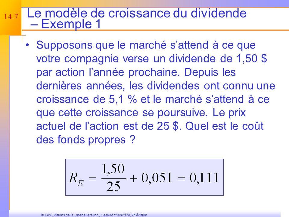 Le modèle de croissance du dividende – Exemple 1