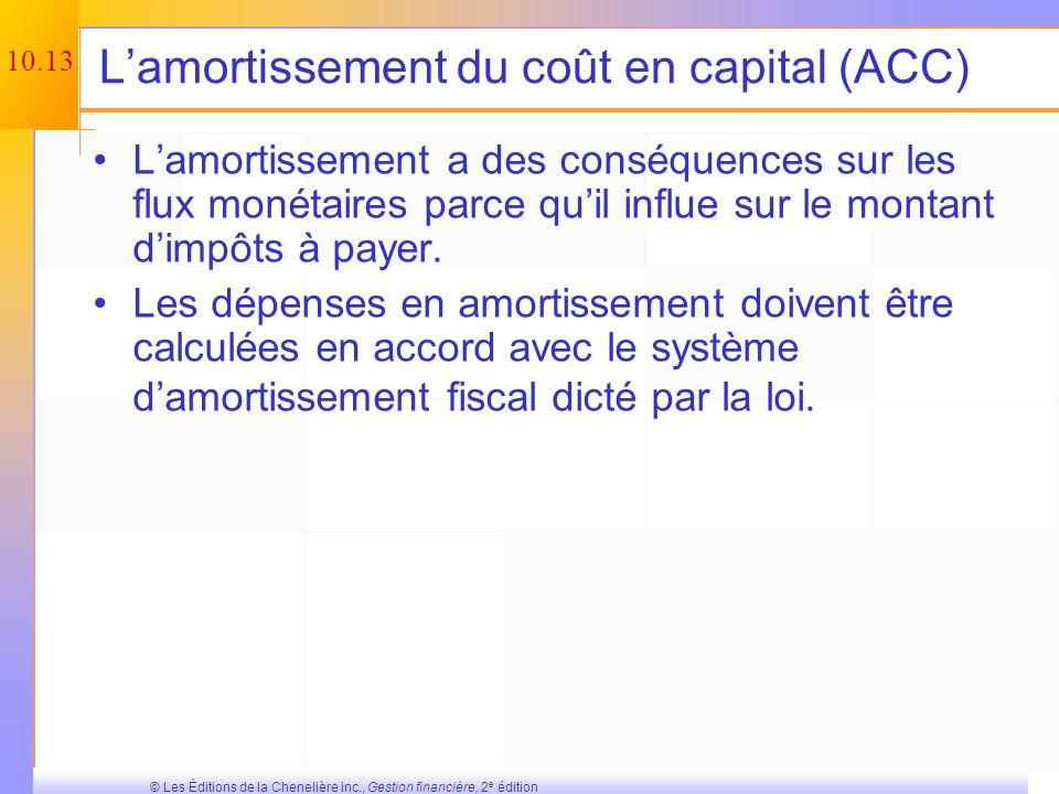 L'amortissement du coût en capital (ACC)