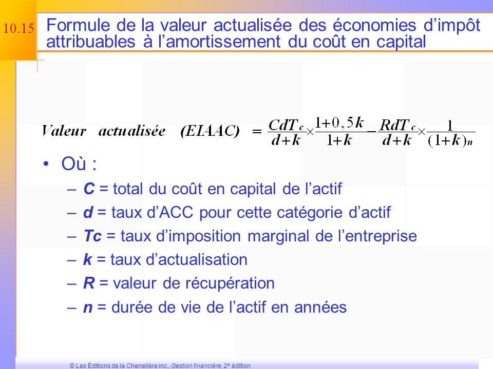 Formule de la valeur actualisée des économies d'impôt attribuables à l'amortissement du coût en capital