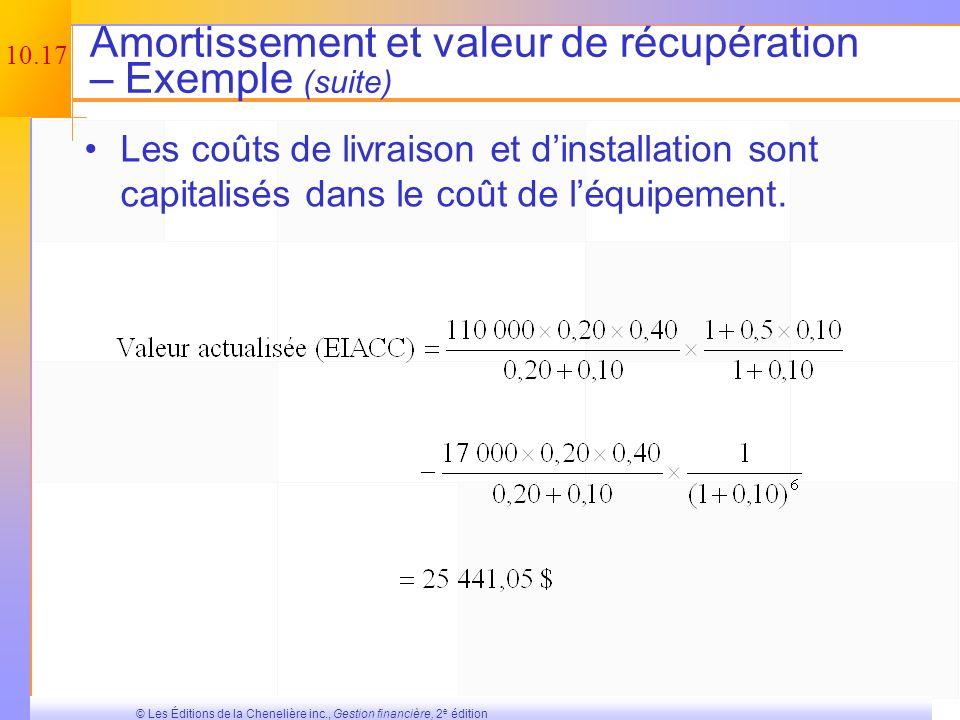 Amortissement et valeur de récupération – Exemple (suite)