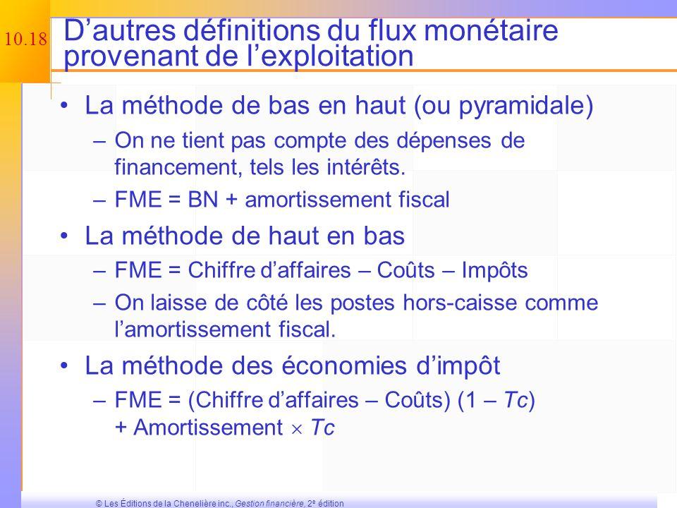 D'autres définitions du flux monétaire provenant de l'exploitation