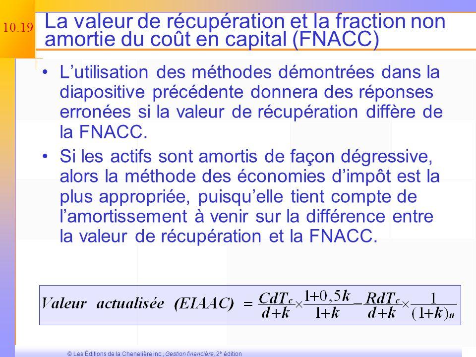 La valeur de récupération et la fraction non amortie du coût en capital (FNACC)