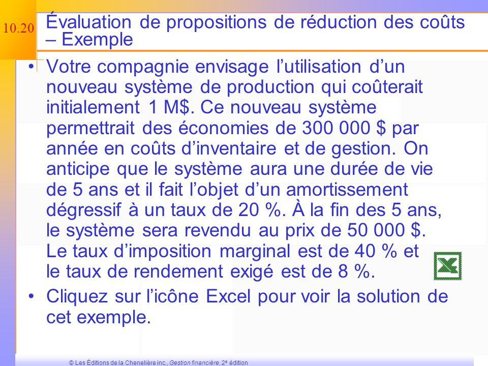 Évaluation de propositions de réduction des coûts – Exemple