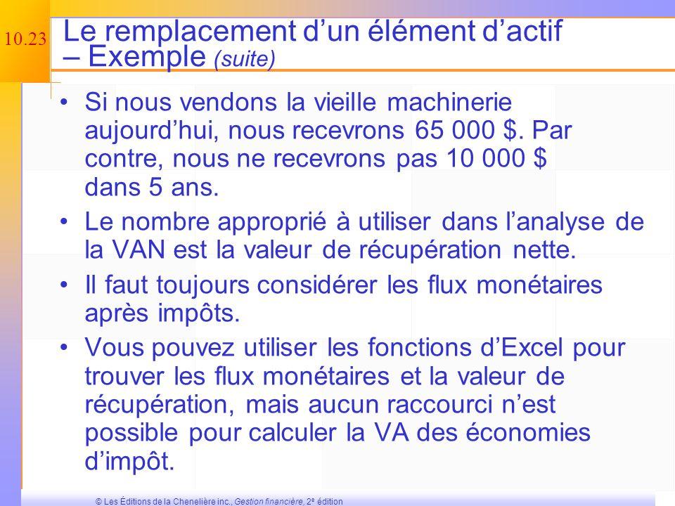 Le remplacement d'un élément d'actif – Exemple (suite)