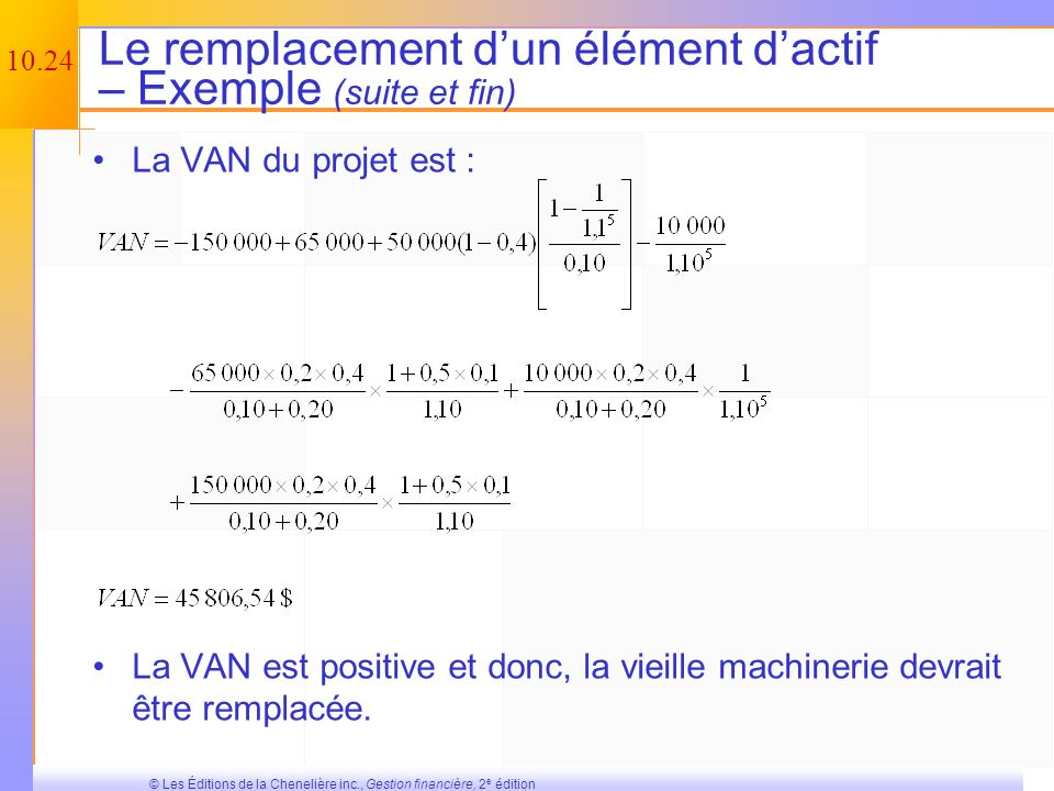 Le remplacement d'un élément d'actif – Exemple (suite et fin)
