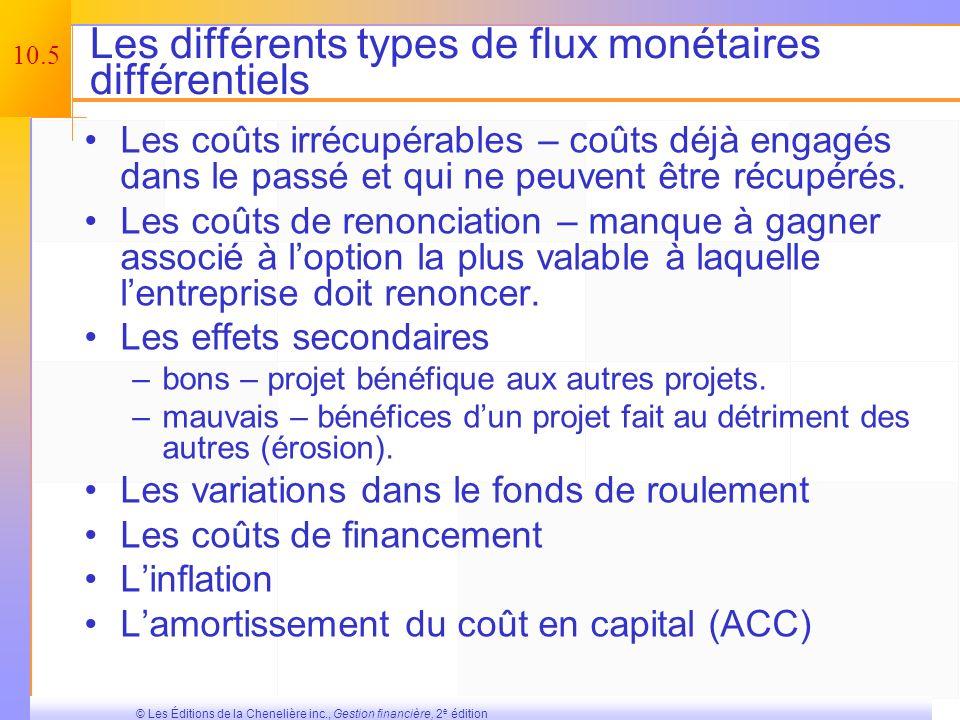 Les différents types de flux monétaires différentiels