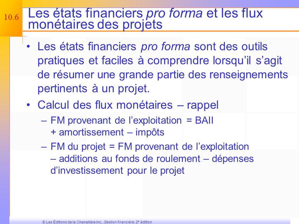 Les états financiers pro forma et les flux monétaires des projets