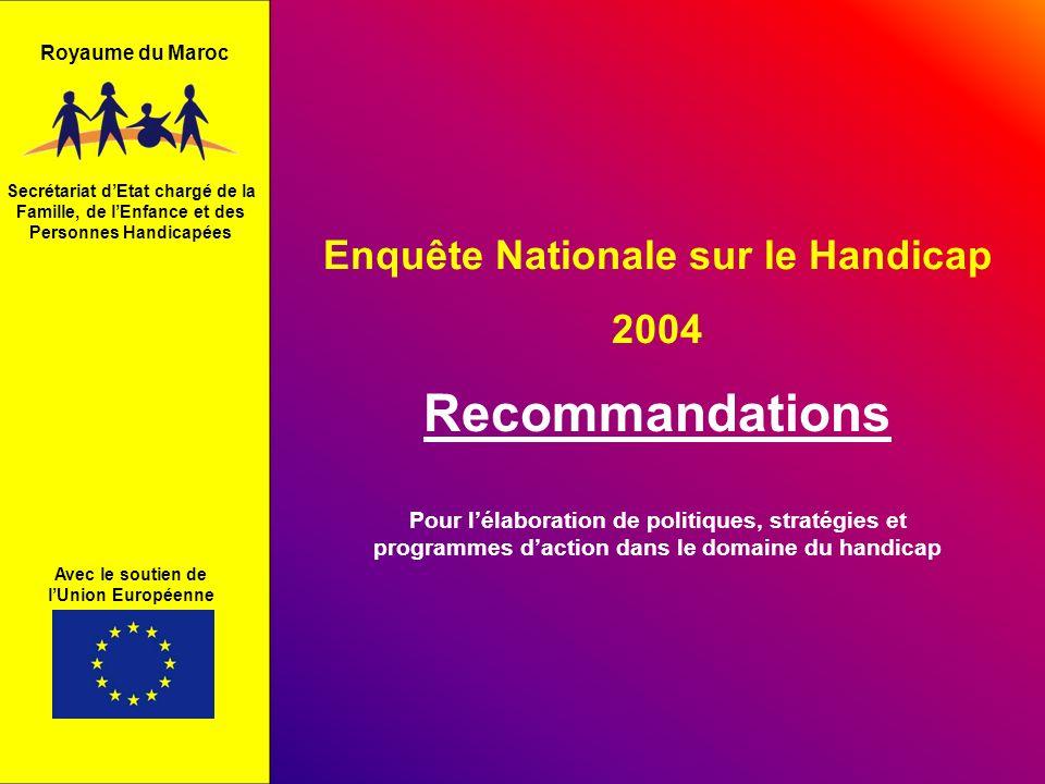 Recommandations Enquête Nationale sur le Handicap 2004