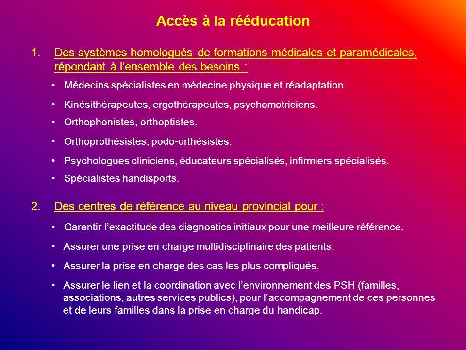 Accès à la rééducation Des systèmes homologués de formations médicales et paramédicales, répondant à l'ensemble des besoins :