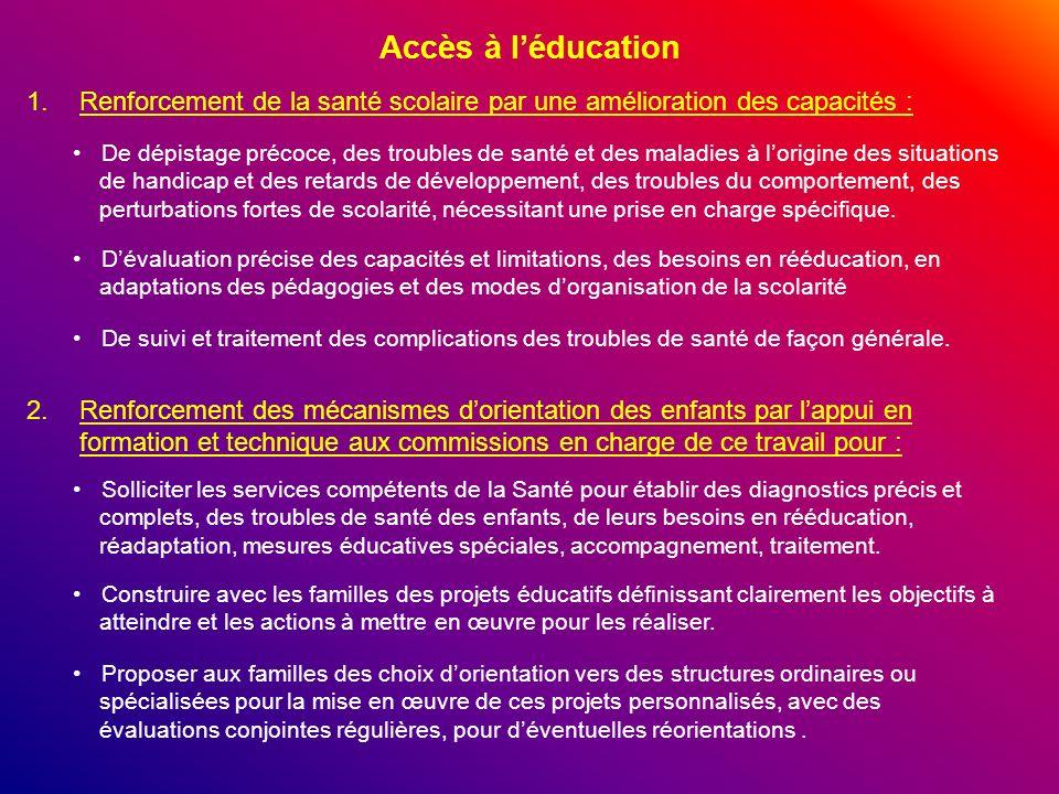 Accès à l'éducationRenforcement de la santé scolaire par une amélioration des capacités :