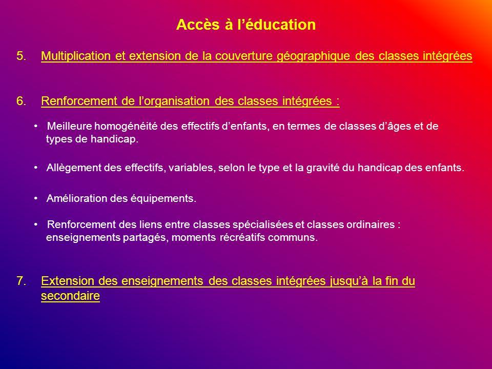 Accès à l'éducation Multiplication et extension de la couverture géographique des classes intégrées.