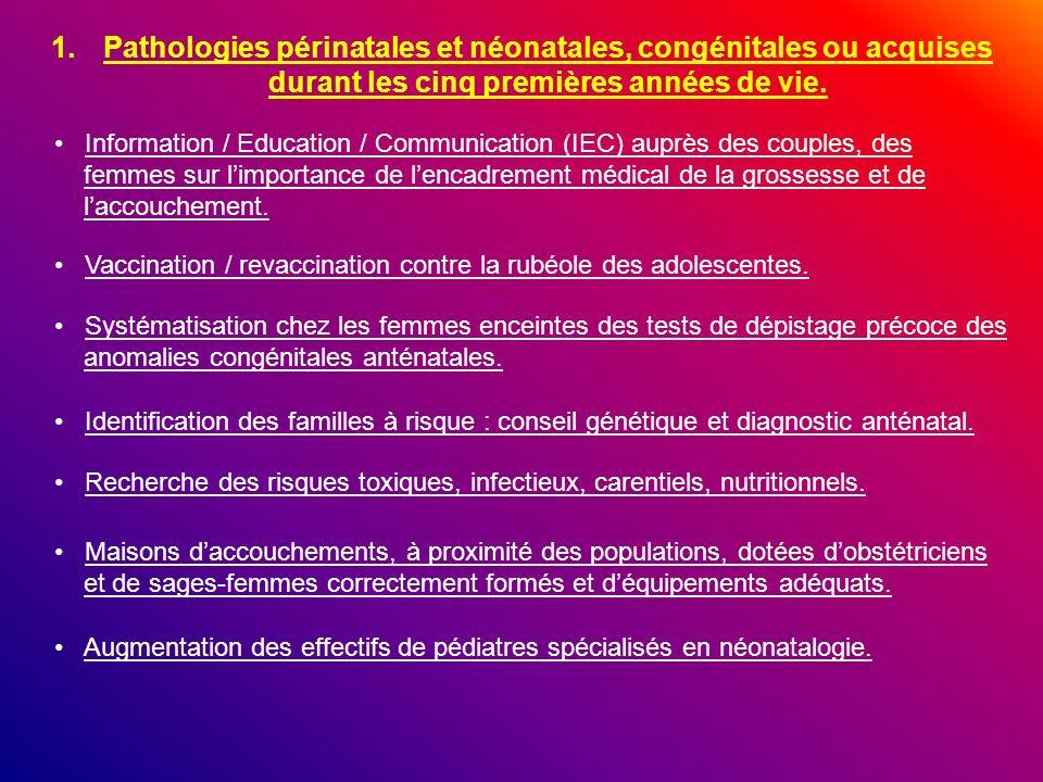Pathologies périnatales et néonatales, congénitales ou acquises durant les cinq premières années de vie.