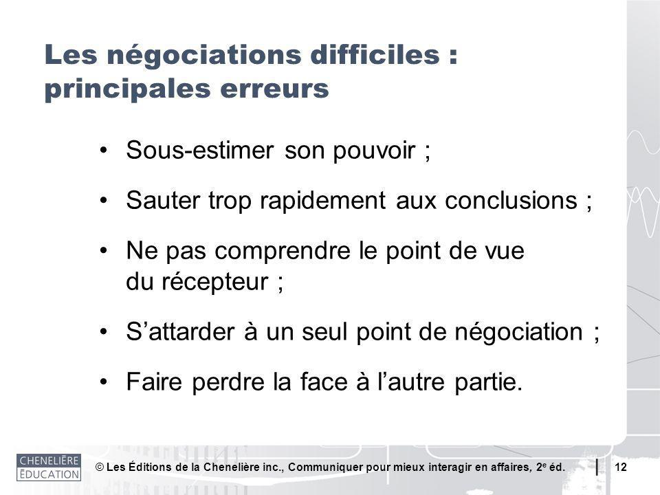 Les négociations difficiles : principales erreurs