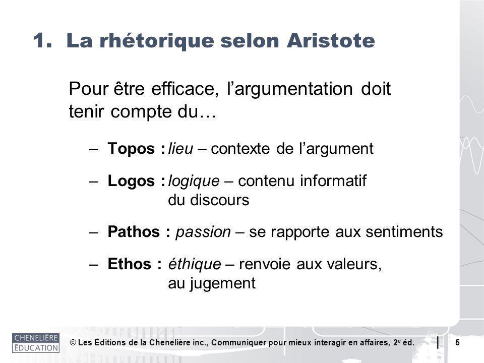 1. La rhétorique selon Aristote
