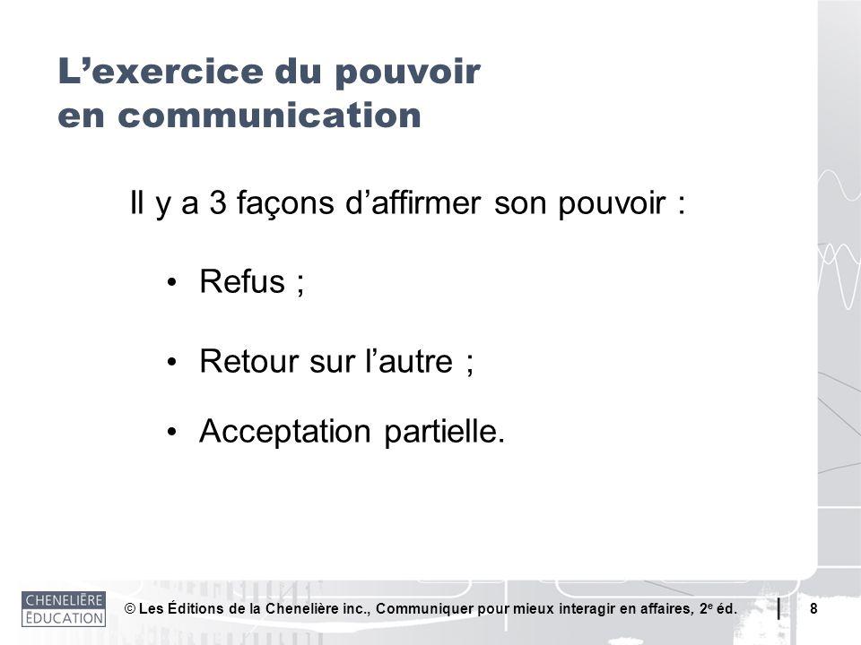 L'exercice du pouvoir en communication