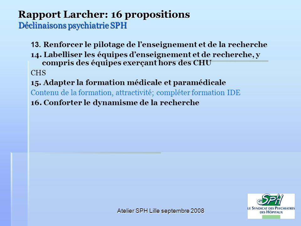 Rapport Larcher: 16 propositions Déclinaisons psychiatrie SPH