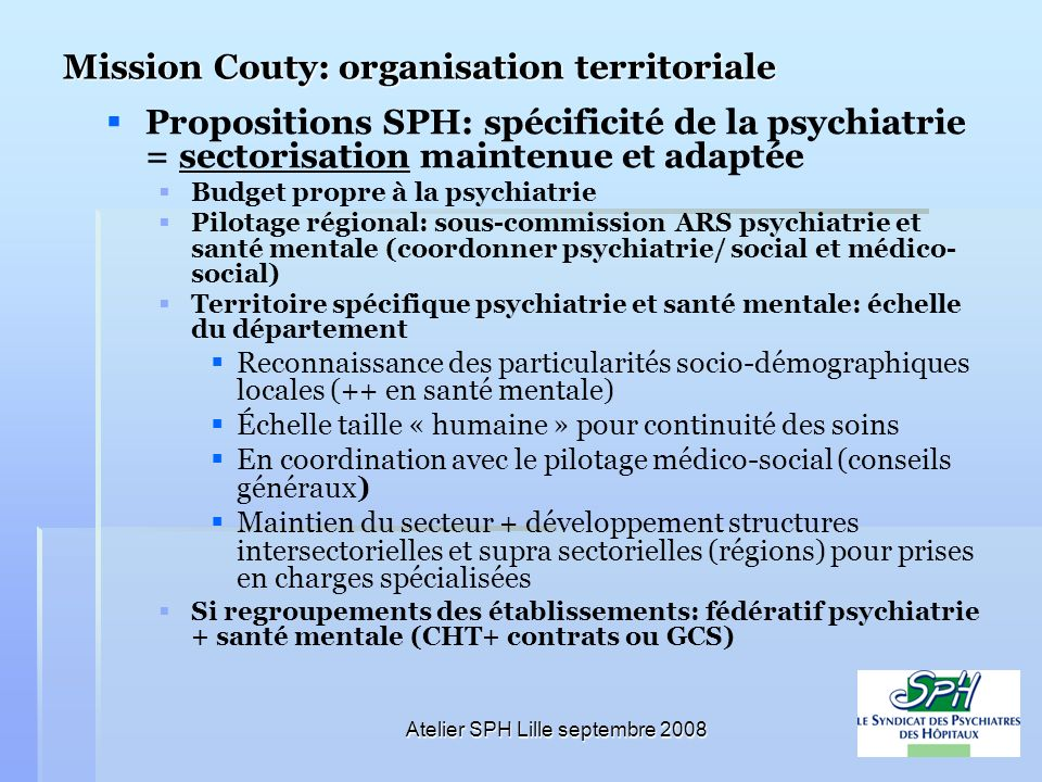 Mission Couty: organisation territoriale