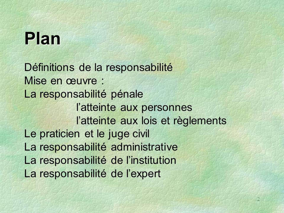 Plan Définitions de la responsabilité Mise en œuvre :